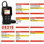 LAUNCH OBD2 Scanner CR319 Check Engine Code Reader with Full OBD2 Functions, Car Engine Fault Code Reader CAN Scan Tool… 16 【CHECK ENGINE LIGHT OBD2 SCANNER】The obd2 scanner CR319 full obd2 function scanner can fast read and clear trouble codes, check emission-related monitors, accurately pinpoint the problems of your vehicle, turn off the MIL (Malfunction Indicator Lamp), and reset the monitors. It enables you to fix the issues yourself, or enlighten you about what might happen before bringing in for repairing. Save your money! Save your time! OVER 200,0000 DIYER 's First Choice !!! 【READ AND CLEAR CODES READER】The lowest price obd2 scanner with full obd2 function scanner, including Read and erase code (Generic, Manufacturer Specific, and Pending Codes) and show code definitions, I/M Readiness, live date, Freeze Frame, Vehicle Information, O2 Sensors, EVAP, On-Board Monitor Test (Mode 6), Component Test, etc,which can help you find the hidden problems and simplify diagnosis, resolve the reasons which light up the engine light, and present you the status of the car engine. 【ONE-CLICK I/M READINESS & DTC LOOKUP】The code reader is equipped with One-Click I/M readiness, which makes it more efficient to check the emission state and readiness so as to have a clear idea about vehicle health status. To assist you in passing the emission test easily, the OBD2 code reader would make sure the monitors are all set. The built-in DTC library with a database of over 3000 code definitions, automatically displayed after reading. Read the definitions, solve the problems.