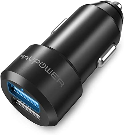Car Charger RAVPower USB Car Cigarette Lighter Adapter Chargers with 12V 24W 4.8A 2-port for iPhone XS/XR/XS Max, Galaxy S9, and More with iSmart 2.0 Tech – Black