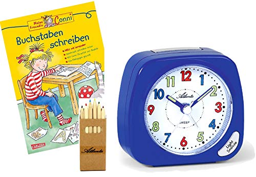 Kinderwecker ohne Ticken für Jungen Blau + Lernbuch Conni Schreiben Lernen + Stifte -1936-5 BSBS