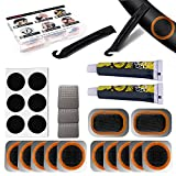Exppsaf Bike Inner Tire Patch Repair Kit - with 12 PCS Vulcanizing Patches, 6 PCS Pre Glued Patchs, Portable Storage Box, Metal Rasp and Lever - Also for MTB BMX Road Mountain Bicycle Travel