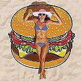 redcolourful Ronda 3D lindo patrón de alimentos impreso toalla de playa multiusos toalla de gasa protector solar bufanda hamburguesa gasa