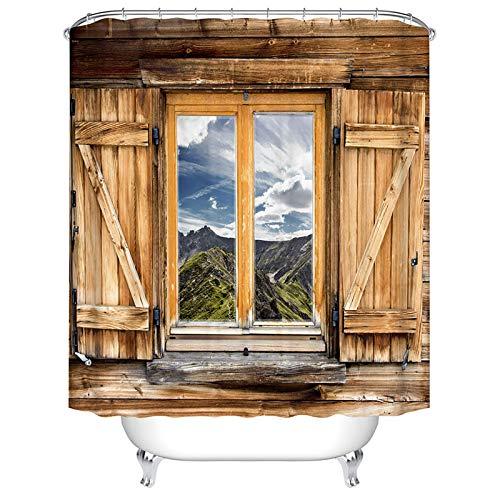 BOYOUTH Duschvorhang mit 3D-Holzfenster-Muster, Digitaldruck, als Badezimmerdekoration, Polyester, wasserdicht, mit 12 Haken, 180 x 180 cm, mehrfarbig