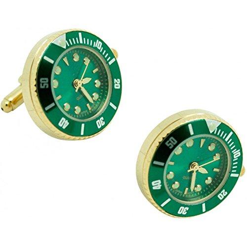 masgemelos Manschettenknöpfe Uhr Rolex grün Cufflinks
