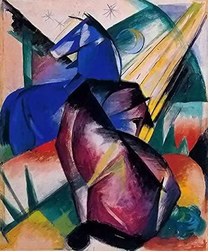 Caballo rojo y azul - Kits de pintura de diamante 5D DIY - Franz Marc - Bordado de punto de cruz Artesanía redonda completa Regalo artístico 40x50cm