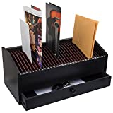JUMBL™ 17' - 31 Slot Wooden Bill/Letter Organizer with Drawer - Black