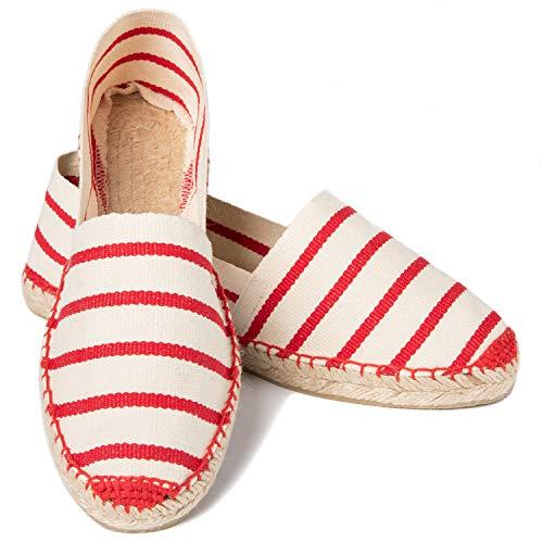 ESPADELLE Klassische Gestreifte Damen Slip-on Espadrilles aus Baumwolle mit Schuhbeutel, Caprese, 38, Handmade in Spain
