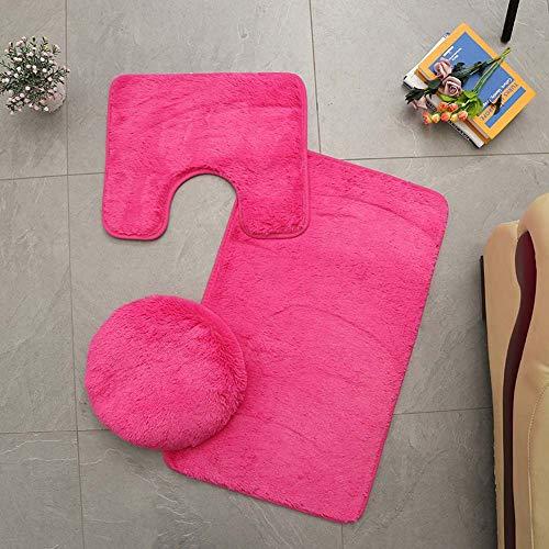Homieco Alfombra de baño de Color Liso, 3 Piezas, Absorbente Suave, Alfombrilla de baño Antideslizante, alfombras y Tapa de Inodoro, Lavable, Rosa