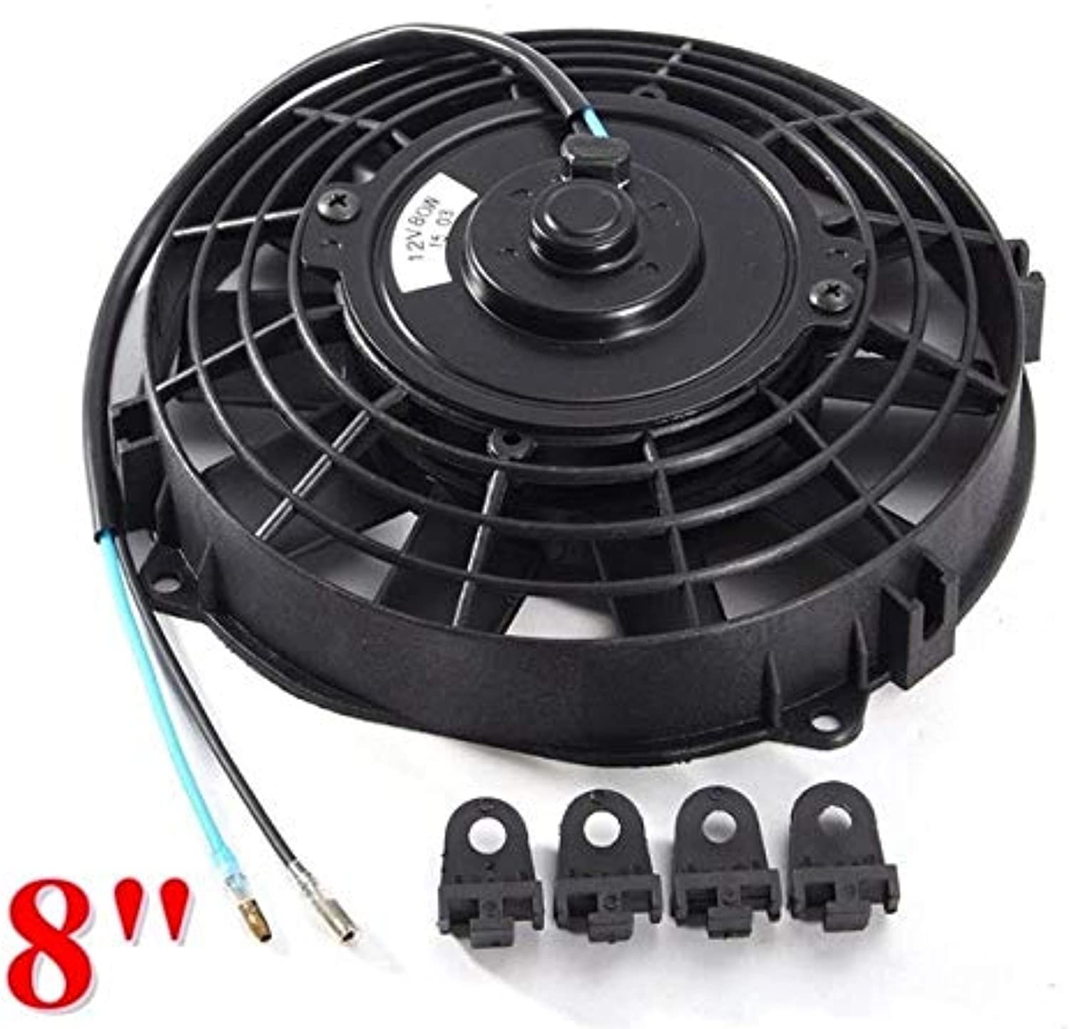 Cocas Universal 8 910 12 14 Inch Water Oil Cooler 12V 80W Pull Push Straight Blade Electric Cooling Radiator Fan for Car Motorcycle