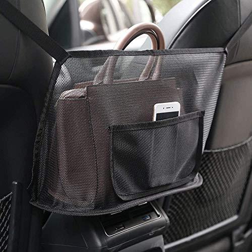 FANIER Auto Netz Tasche Handtasche Halter Organizer, Sitz Seite Lagerung Mesh Netz Tasche Auto Aufbewahrungstasche Auto Aufbewahrungsbox Auto Tasche-Schwarz