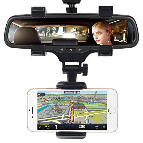 Supporto per Smartphone Universale per Specchietto Retrovisore Auto [Garanzia a Vita] Porta Cellulare Auto per Telefoni iPhone, Samsung, Note, Huawei, GPS PDA (Nero)