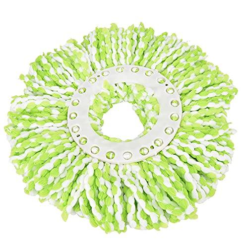1 cabezal de fregona de repuesto de 360 grados, para limpieza de pisos, de microfibra, giratoria, color verde