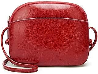 Leather New Women's Shoulder Wallet Wild Shell Handbags Simple Mini Summer Shoulder Messenger Wallet Waterproof (Color : Red, Size : S)