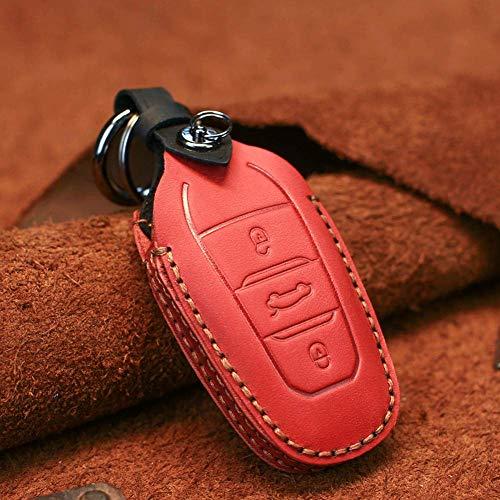 YUFFD Funda de cuero inteligente para llave de coche, para Peugeot 208308508 3008 5008 para Citroen C4 Picasso DS3 DS4 DS5 DS6rojo