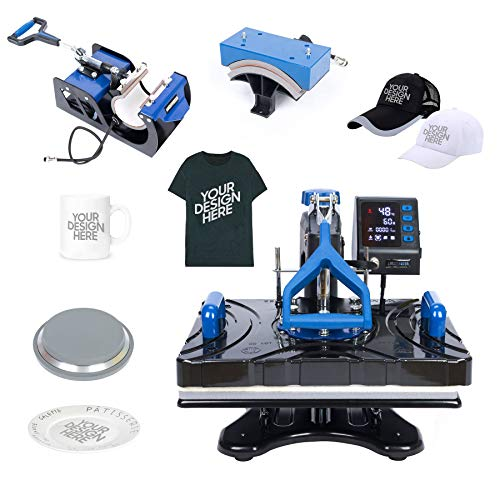 Upgraded 6 in 1 Combo Multifunctional Swing Away Clamshell Printing Sublimation Heat Press Transfer Machine for T-Shirt Hat Cap Mug Plate 15 x 12 Inch