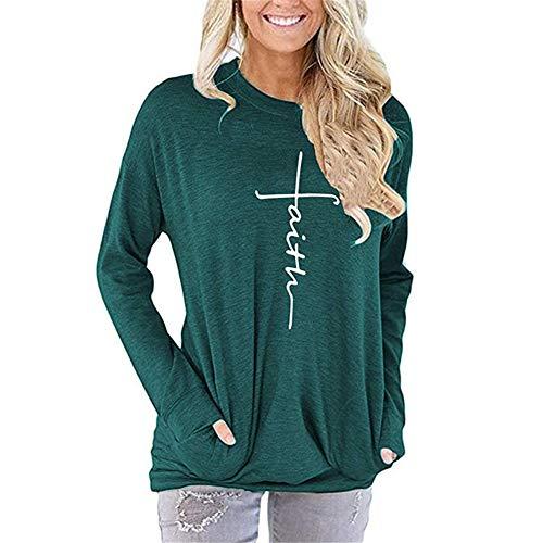 Herbst/Winter Damen Sweatshirt Letter Print Rundhalsausschnitt Langarm T-Shirt Top S-2XL