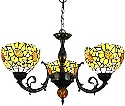 Stained Glass lamp, Vintage Decorative Chandelier Stained Glass Chandelier Yellow Sun Flower Shades 3 Arms Chandelier Inve...