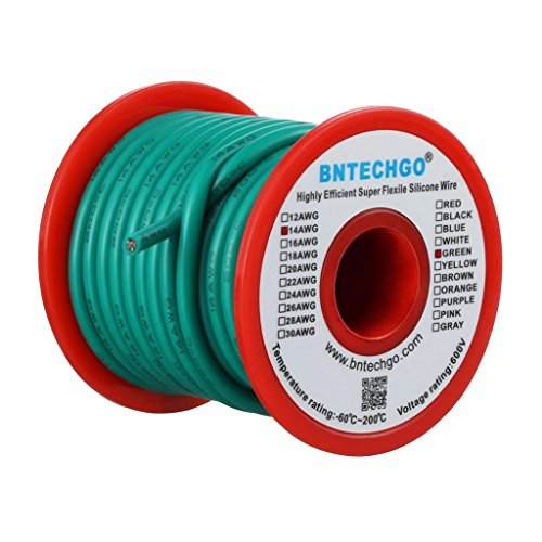BNTECHGO 14 Gauge Silicone Wire Spool 25 ft Green Flexible 14 AWG Stranded Tinned Copper Wire