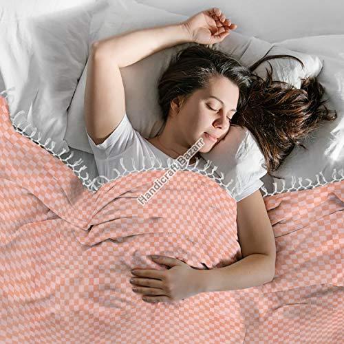 Handicraft Bazarr Cobertores tradicionales de viscosa a cuadros para el cuerpo, de algodón a mano, sábana de cama vintage de 200 x 150 cm