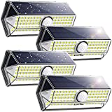 LITOM LED Solar Lights Outdoor with Higher Security and Motion Sensor, Flood Lamp 4 Optional Modes, Wide-Angle Design, IP67 Waterproof, Easy-to-Install for Front Door Yard Garage 4 Pack, Black
