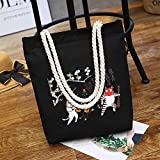 ZoraQ Exorcismo femenino Canvas Shoulder Bag Simple File Shopping Handbag (Negro)