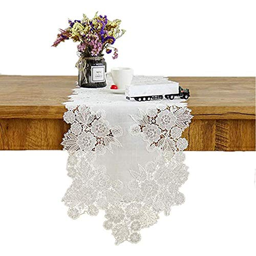 Camino de mesa, camino de mesa con bordado de flores de encaje blanco, bufanda de vestidor europeo, estante de la manta, mantelería, boda, comedor, camino de mesa para fiestas y reuniones