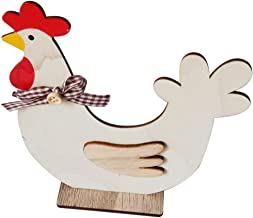 Nordic Ins Ornaments Easter Wooden Cock Hen Decoration Easter Decorations Wooden Cock Hen Shapes Ornaments Craft Gifts(Multicolor;Wood)