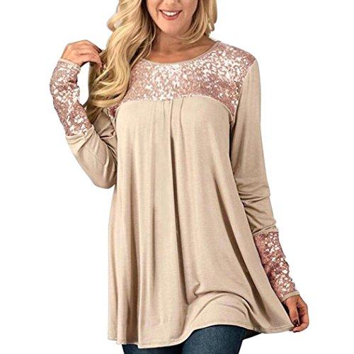 Hevoiok Damen Pailletten Oberteile, Neu Mode Freizeit Winter Frühling Shirt O Hals Pullover Langarm Lose Hemd Bluse Tops (Beige, XL)