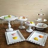 Jasemy - 6 soportes para tartas de boda, soporte para cupcakes, postres, placas de cristal, juego para fiestas, pasteles, postres, cumpleaños, con colgante de cristal y perlas