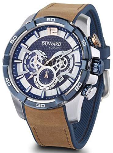 Duward aquastar le Mans Herren Uhr analog Automatik mit Leder Armband D85533.05