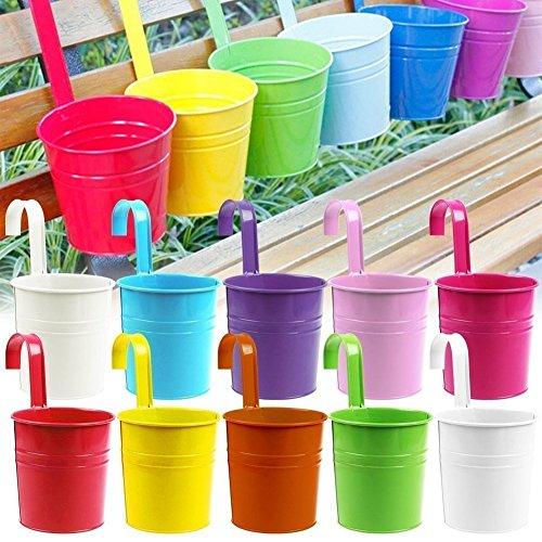 Excerando 10pcs Flor potes 10 colorea el Hierro del Metal Que florece el Colgante de la Planta del jardín del balcón Que Planta la decoración casera
