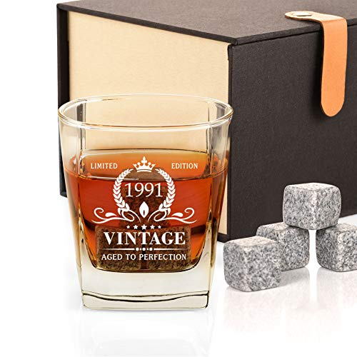 30th Birthday Gifts for Men, Vintage 1991 Whiskey Glass and Stones Funny 30 Birthday Gift for Dad, Husband, Brother, Son, 30th Anniversary Present Ideas for Him, 30 Bday Decorations 12OZ
