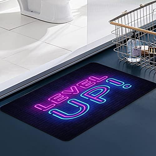 Carvapet Tapis Cuisine Antidérapant Neon Level Up Word Moderne Signe Nuit enseigne Lumineuse bannière publicitaire Tapis de Douche Moelleux en Microfibre,Absorbant l