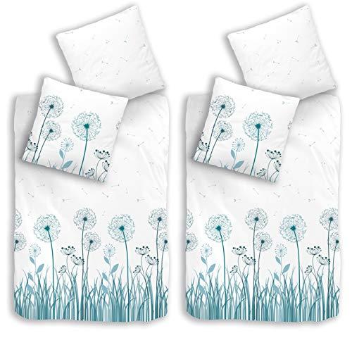 termana Blumen Bettwäsche-Set 135x200 · Blumen-Bettwäsche · Pusteblume Weiß, Petrol · Kissenbezug 80x80 + Bettbezug 135x200 cm - 100% Baumwolle · 4-teilig