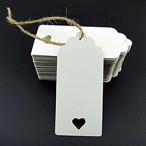 Hosaire 100x Etiketten Etikett Kraftpapier Tags Weiß Kraftpapier Blanko,Ideal für Geschenke