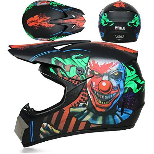Gjfhome Motocross Helm Herren Vier Jahreszeiten,Highway Youth Edition Adult Kart SUV Helm Für Männer Damen Sicherheit Schutz (Handschuhe, Schutzbrille, Schutzmaske, 4-Teiliges Set),L