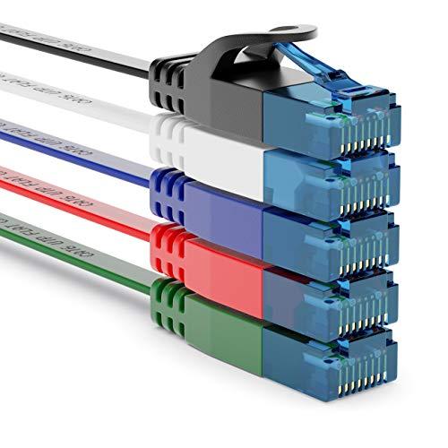deleyCON 5X 1m CAT6 Cable de Red Plano Cable de Cinta de 1,5mm U-UTP RJ45 - Cable de Conexión UUTP para DSL LAN Conmutador de Módem Panel de Conexión de Repetidor - Multicolor
