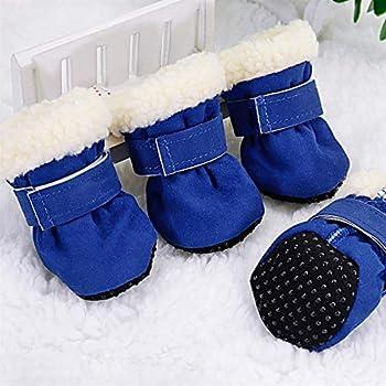 DHDHWL Chien Chaussures 4pcs Pet Dog Chaussures imperméables Bottes d'hiver for Chien Chaussettes Anti-dérapant Chiot Cat Pluie Neige Bottillons Chaussures for Petits Chiens Chihuahua #HJ