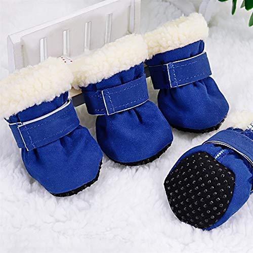 DHDHWL Hundeschuhe 4pcs Hund Schuhe wasserdichte Winter-Hund Stiefel Socken Anti-Rutsch-Welpen-Katze Regen Schnee Booties Schuhe for kleine Hunde Chihuahua #HJ (Color : Blue, Size : S)