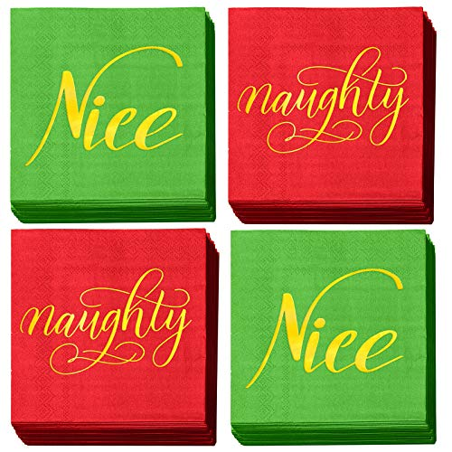 Aneco 60 Pack Naughty or Nice Beverage Cocktail Napkins with Gold Foil Red and Green Paper Napkins for Christmas Holidays Dinner Party Supplies with 2 Layers, 5 by 5 Inches