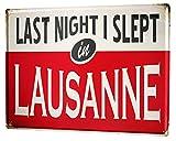 Li6454e Tin Sign City Lausanne Switzerland Poster for Home