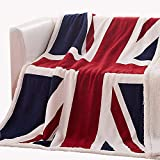 Annyuboo British Union Jack Throw Blanket Soft Sherpa Fleece Blanket Lightweight Cozy Blanket for Couch Bed Chair Office Sofa - 50x60Inch