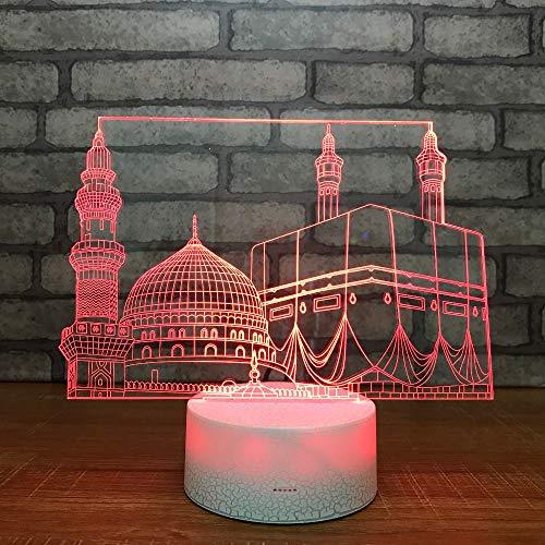 3D Illusion Lampe LED Islamische Kirche Nachtlicht Tischleuchte 7 Farben Blinken Berührungsschalter Schlafzimmer Schreibtischlampe für Kinder Weihnachts Geschenk