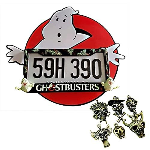 Aweand Halloween-Kennzeichen-Rahmen - Mit 6 Stück Halloween Dreidimensionaler Schädel-Anhänger-Auto Personalisierte Kartenrahmen Horror-Liebhaber D