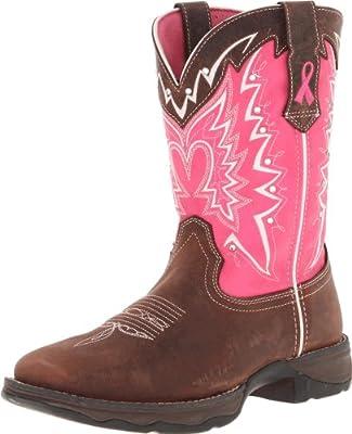 """Durango Lady Rebel 10"""" Pull-On RD3557-U, Dark Brown/Pink, 7 M US"""