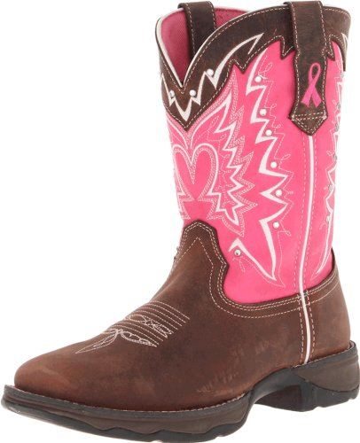 Hot Sale Durango Lady Rebel 10 Inch Pull-on RD3557 Western Boot,Dark Brown/Pink,9.5 M US