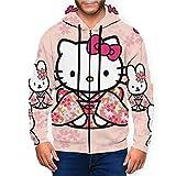 Sudadera con Capucha con Cremallera y Bolsillo Delantero de Hello Kitty para Hombre, Jersey con cordón y Estampado 3D, Talla S-XXL