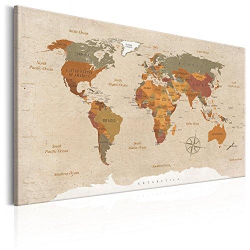 murando Weltkarte Pinnwand & Vlies Leinwand Bild 90x60 cm Bilder mit Kork Rückwand 1 Teilig Kunstdruck Korktafel Korkwand Memoboard Pinboard Wandbilder Karte Landkarte k-C-0048-p-d