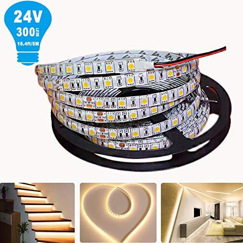 Tesfish 5m/rollo DC 24V 5050 Tira de LED de color Blanco cálido Impermeable IP65 300 LEDs Tira de LED de SMD 5050