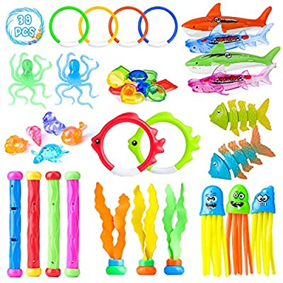 39 Pcs Diving Pool Toys for Kids, Diving Toy Set, Diving Pool Toy Rings Diving Shark, Diving Sticks, Seaweed, Stringy Octopus and Under Water Treasures Gift Set Bundle