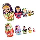 FLAMEER 2 Set Holz Nesting Dolls Matryoshka Russische Puppe Geschenke Einsparung Topf Ornament